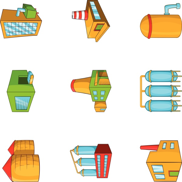 industrial complex icons set cartoon style