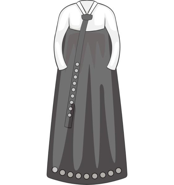 korean dress icon gray monochrome style
