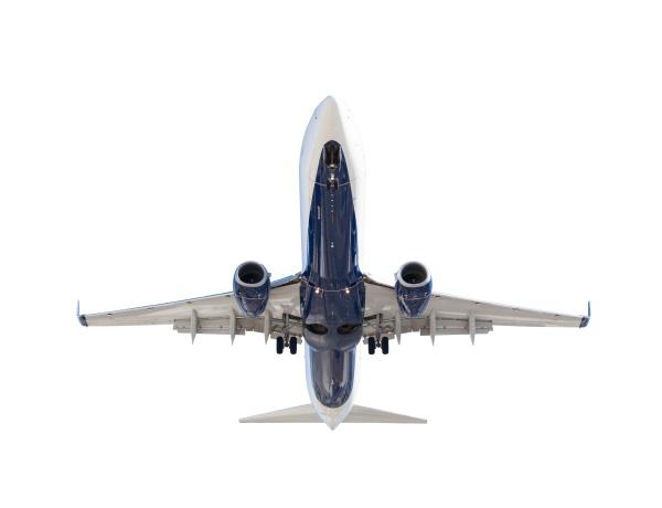 bottom of passenger airplane isolated on