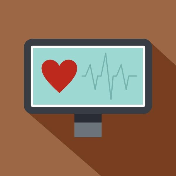 heartbeat monitoring icon flat style