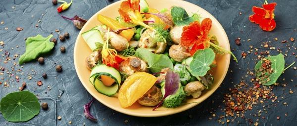 vegetables salad with nasturtium