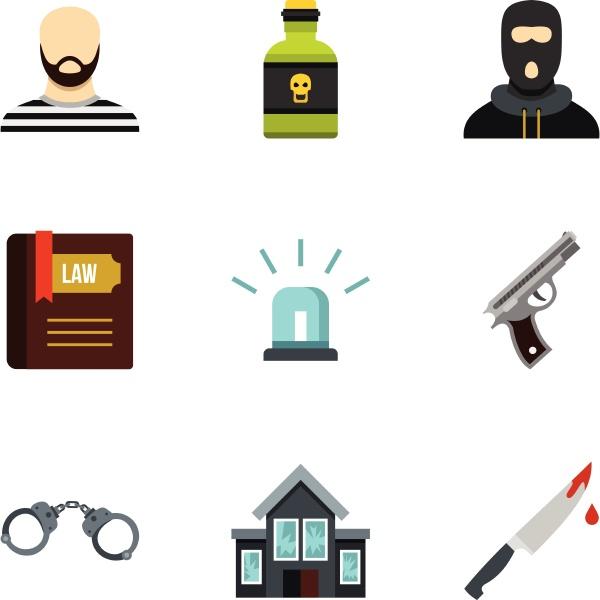robbery icons set flat style