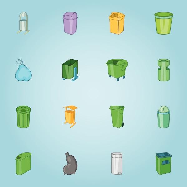 trash cans icons set cartoon