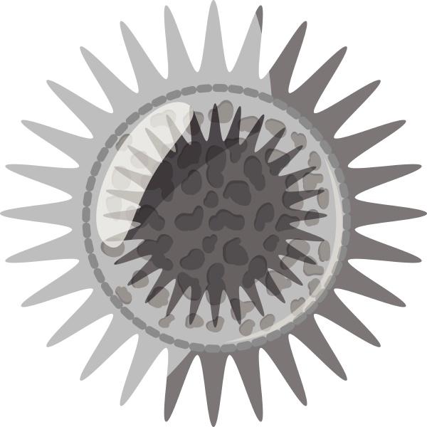 round bacteria icon gray monochrome style