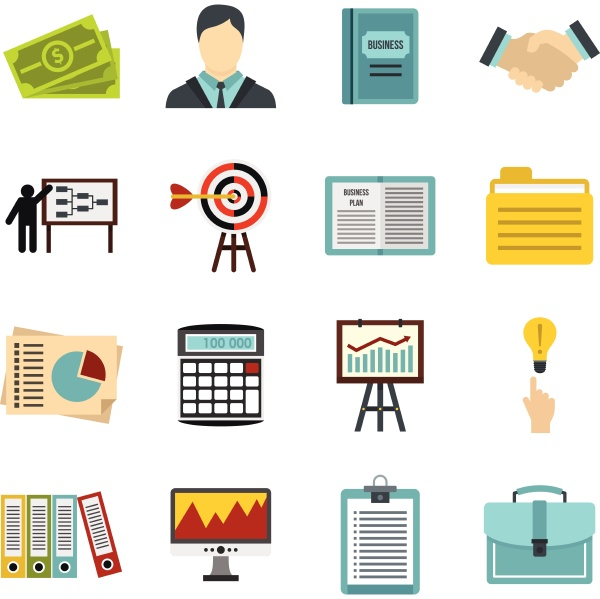 business strategy icons set flat style