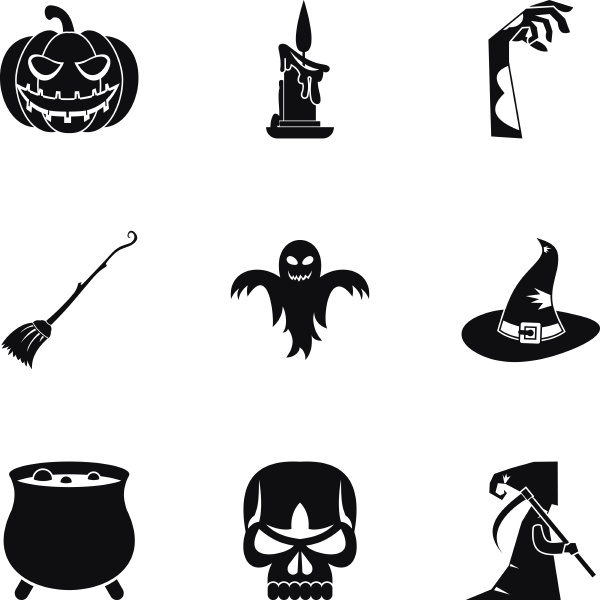 all saints day icons set simple