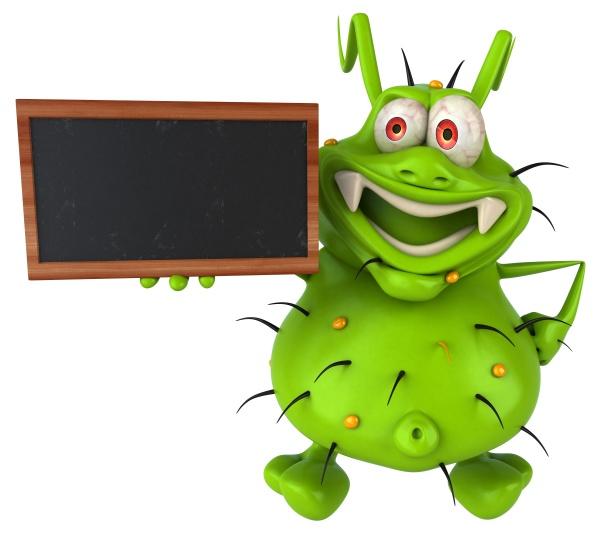 fun 3d germ monster holding a