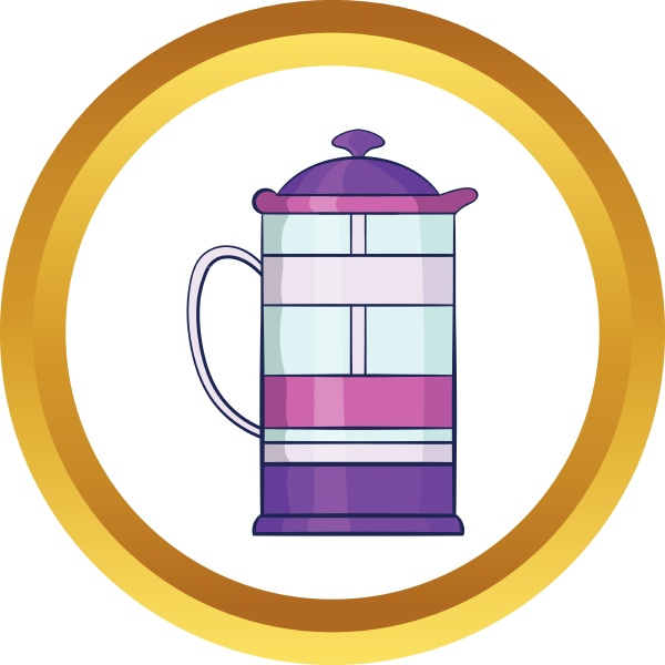 french press coffee maker vector icon