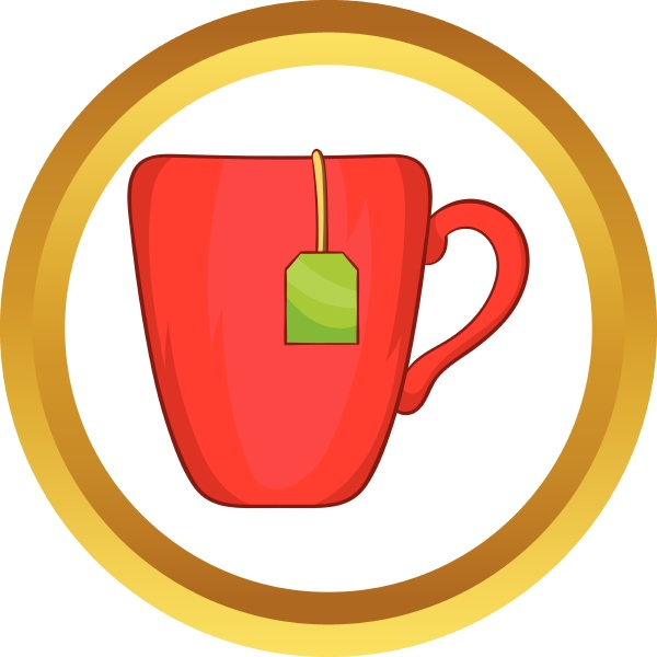 red cup with tea bag vector