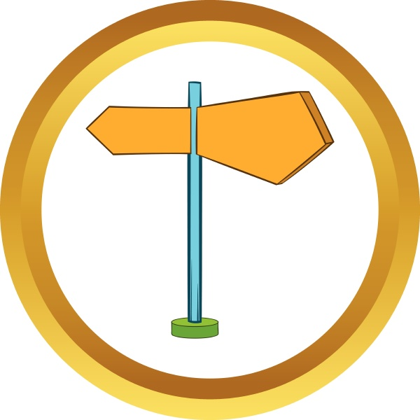 direction signs vector icon cartoon style