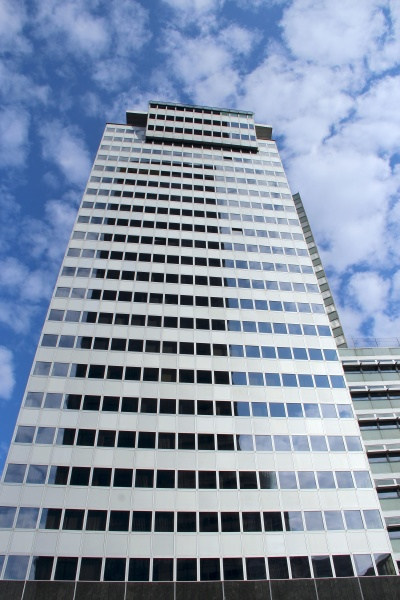 high glass skyscraper in warsaw modern