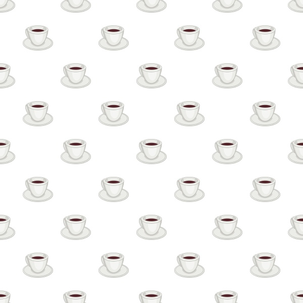 white cup of coffee pattern cartoon