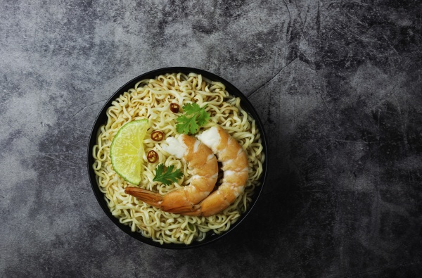 top view of instant noodles with