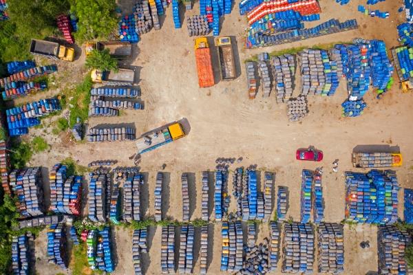 aerial view of lorries loading oil
