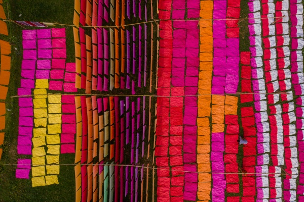 aerial view of hundreds of sheets