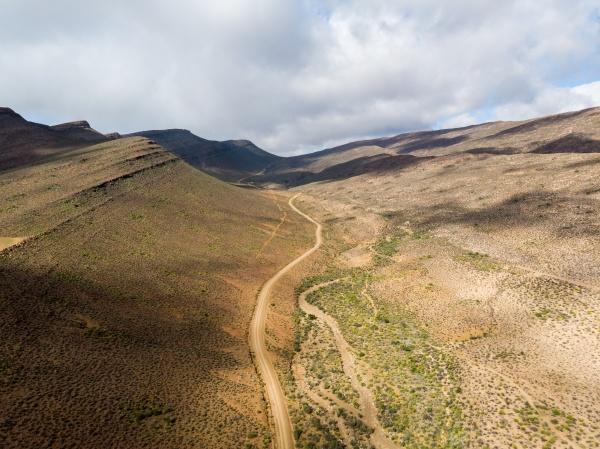 aerial view of cederberg dirt road
