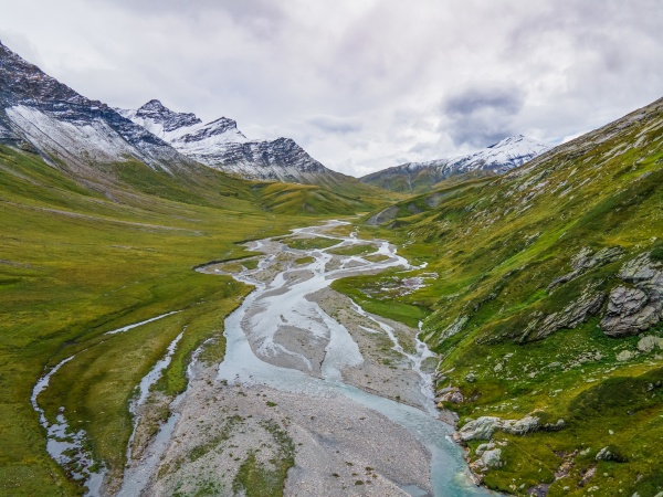 aerial view of river in glacial