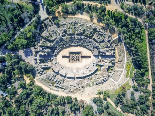 aerial view of an archaeological site