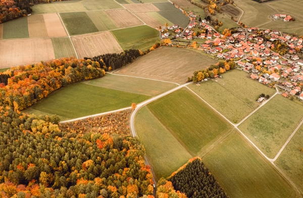 aerial view of a village situeted