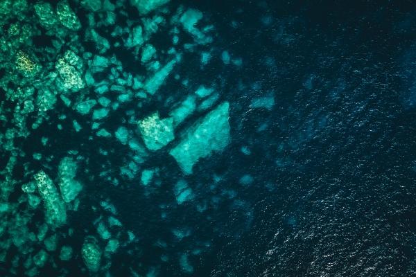 aerial view of rocks underwater in