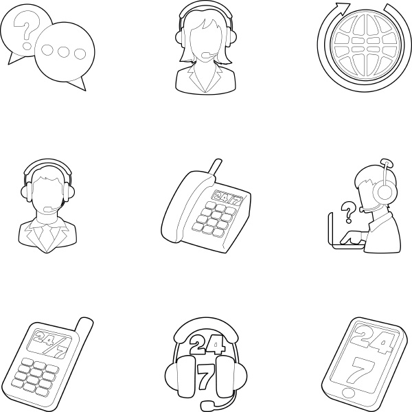 technical support icons set outline style