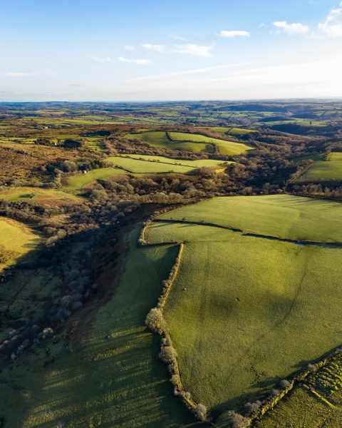 aerial view of countryside agriculture at
