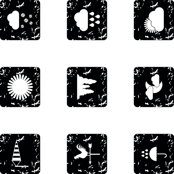 kinds of weather icons set grunge
