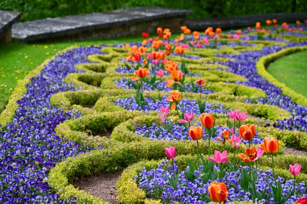 colorful flowerbed in the altenstein castle