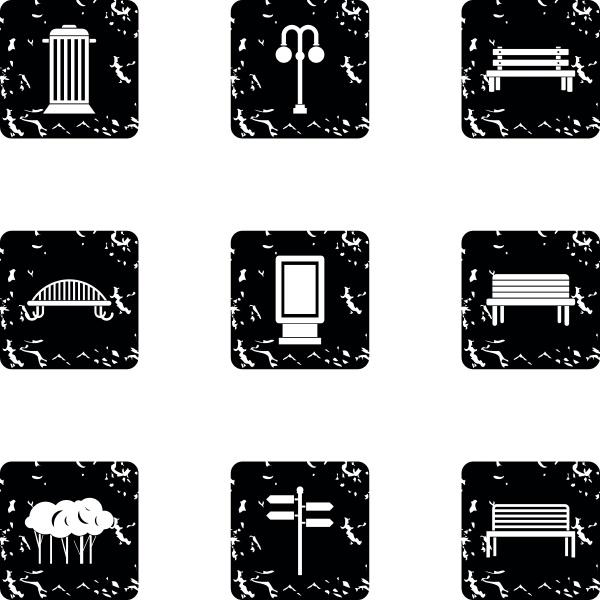 square icons set grunge style