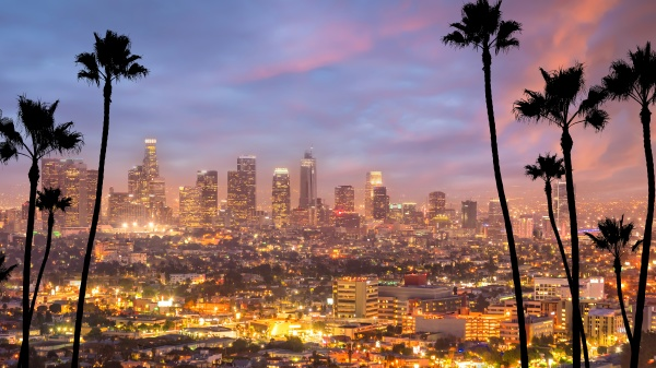 los angeles downtown skyline cityscape in