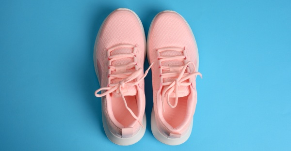 pink womens sneakers with laces on