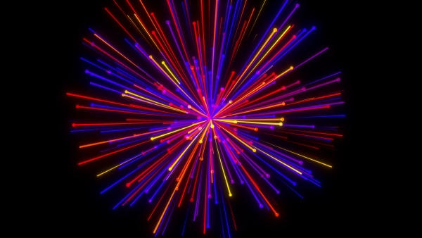 linear particle fireworks explosion