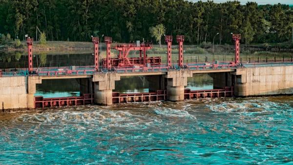river dam bridge car and pedestrian