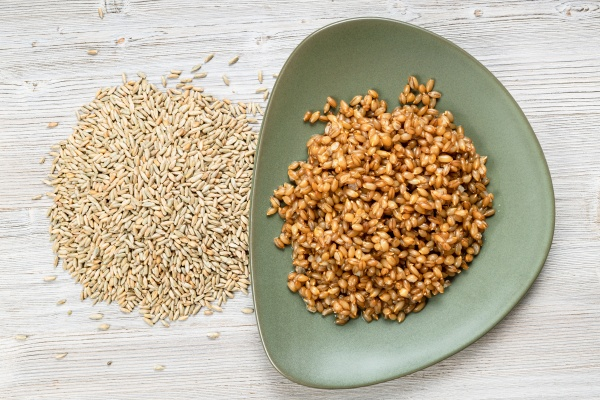 top view of whole rye grains