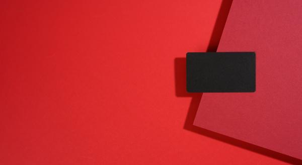 blank black rectangular business card lies