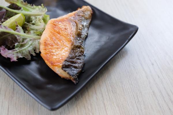 salted grilled salmon steak