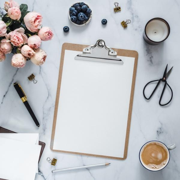 clipboard mock up feminine home office