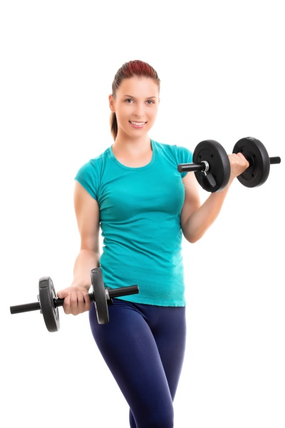 fit young woman doing bicep curls