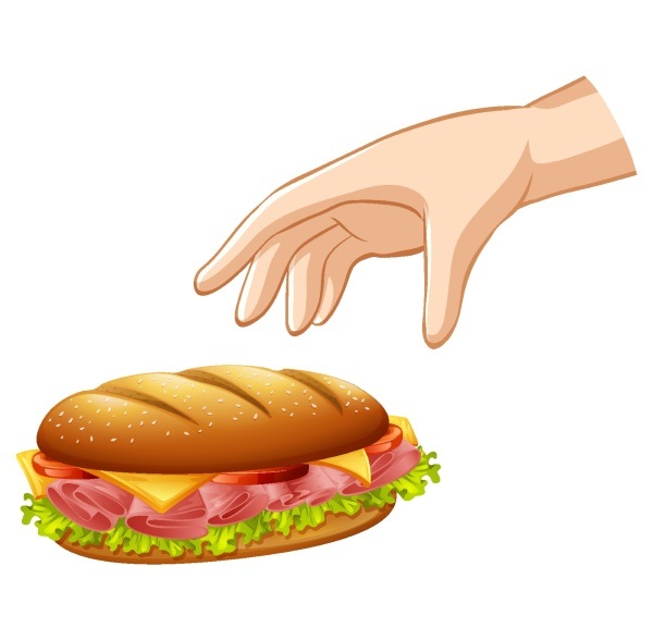 hand dropping hamburger for gravity experiment