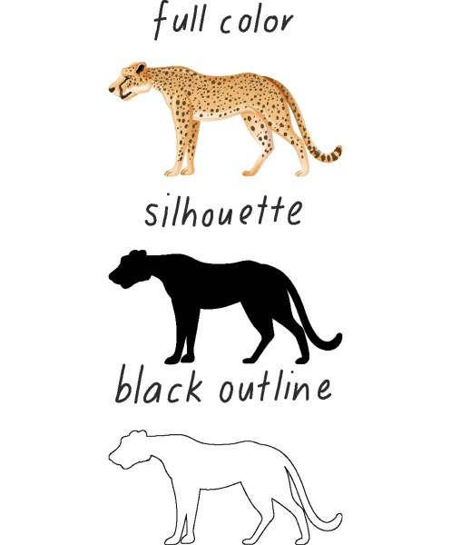 set of leopard in color silhouette