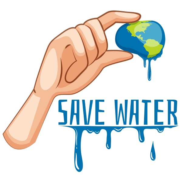 save water sign with earth being