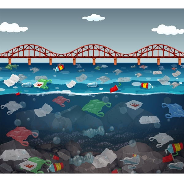 water pollution with plastic bags in