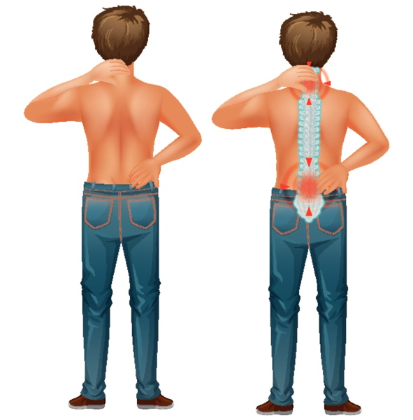 male human with back pain