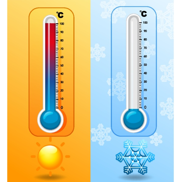 two thermometers in hot and cold
