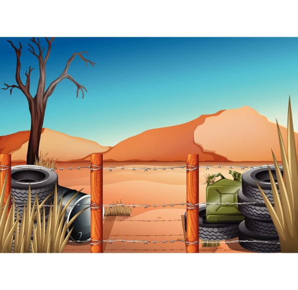 a desert with tires and a