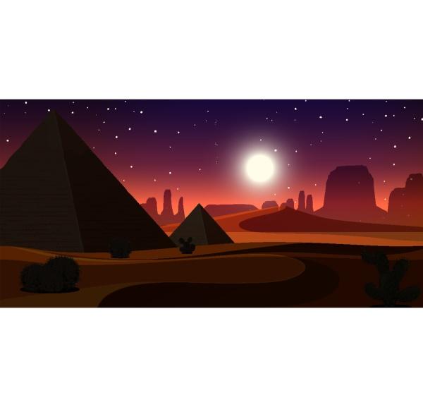 wild desert landscape at night scene