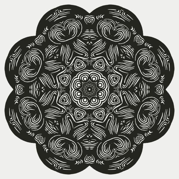 beautiful and elegant monochromatic symmetrical mandala