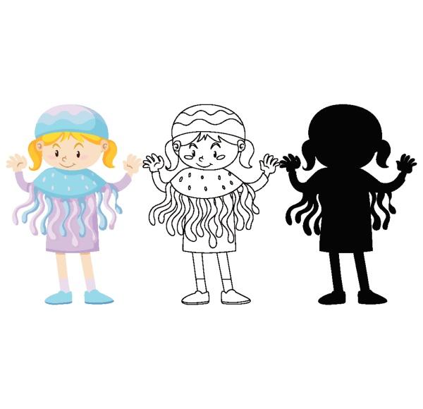 girl in jellyfish costume in color