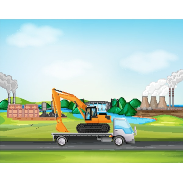 scene with truck driving along the
