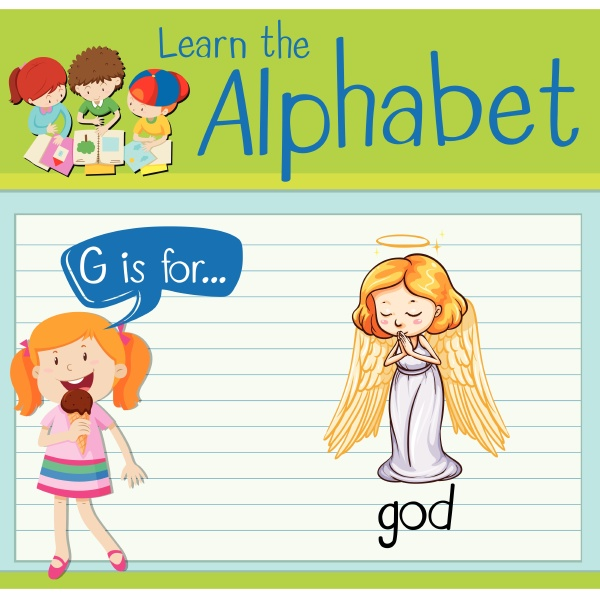 flashcard letter g is for god